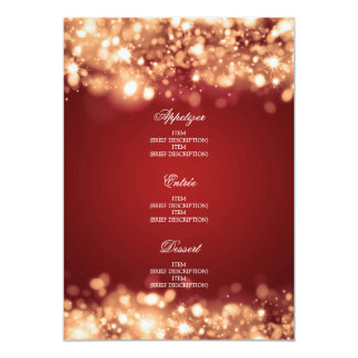 Elegant Wedding Menu Sparkling Lights Gold Card
