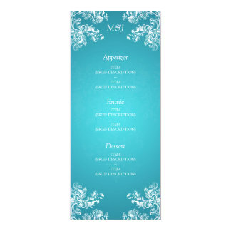 Elegant Wedding Menu Vintage Swirls 2 Turquoise Card