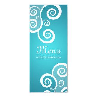Elegant Wedding Menu White Swirls Blue Card