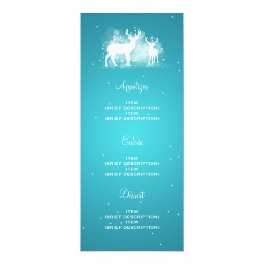 Elegant Wedding Menu Winter Deer Sparkle Turquoise Card