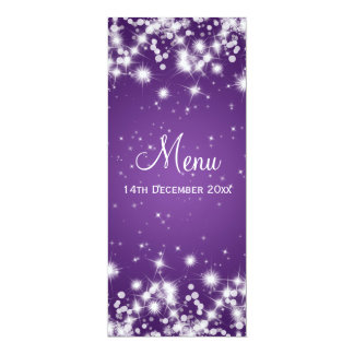 Elegant Wedding Menu Winter Sparkle Purple Card