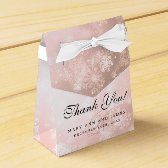 Elegant Wedding Monogram Copper Winter Wonderland Party Favour Boxes