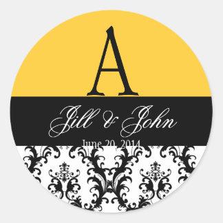 Elegant Wedding Monogram Names Date Damask Yellow Round Sticker