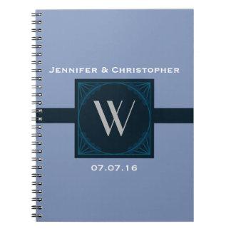 Elegant Wedding Monogram on a Blue Art Deco Square Notebook