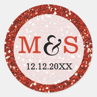 Elegant Wedding Monogram Seals   Red Glitter