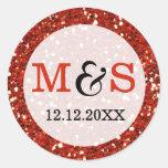 Elegant Wedding Monogram Seals | Red Glitter Round Sticker