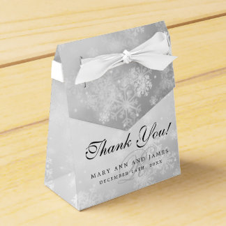 Elegant Wedding Monogram Silver Winter Wonderland Favour Box