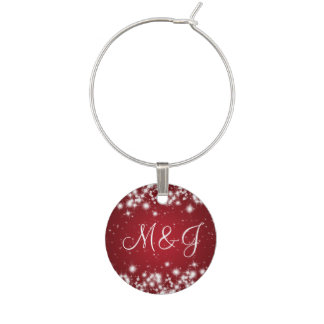 Elegant Wedding Monogram Winter Sparkle Red Wine Charm