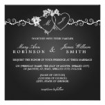 Elegant Wedding Monogrammed Hearts Black Announcements