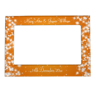 Elegant Wedding Names Winter Sparkle Orange Magnetic Picture Frame