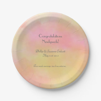 Elegant Wedding Newlyweds Yellow Pink Watercolor Paper Plate