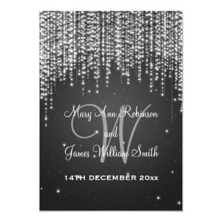 Elegant Wedding Night Dazzle Black 13 Cm X 18 Cm Invitation Card