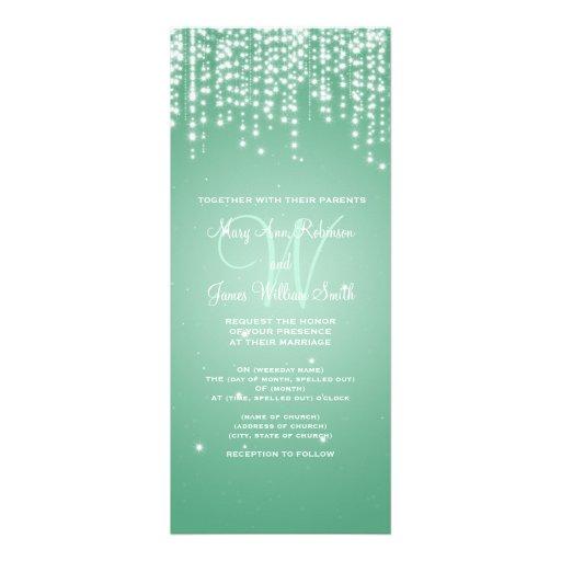 Elegant Wedding Night Dazzle Mint Green Custom Invitations