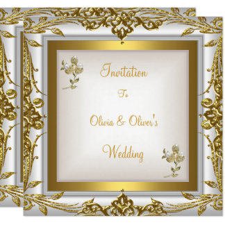 Elegant Wedding Ornate Floral White Gold Card