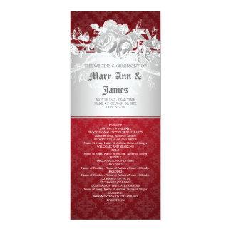 Elegant Wedding Program Baroque Flourish Red