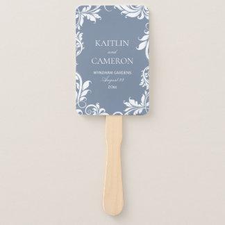 Elegant Wedding Program Fan | Leaves | Dusty Blue