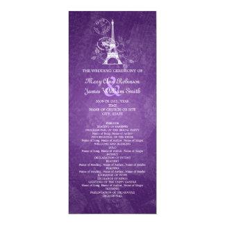 Elegant Wedding Program Romantic Paris Purple