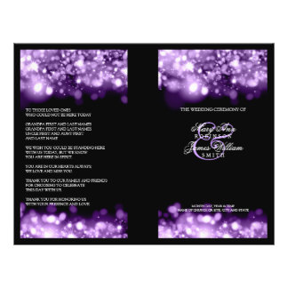 Elegant Wedding Program Sparkling Lights Purple 21.5 Cm X 28 Cm Flyer