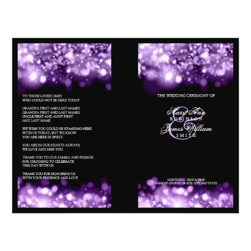 Elegant Wedding Program Sparkling Lights Purple Flyer Design