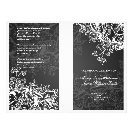 Elegant Wedding Program Vintage Swirls Black Full Color Flyer