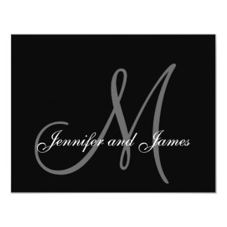 Elegant Wedding RSVP Card with Monogram 11 Cm X 14 Cm Invitation Card