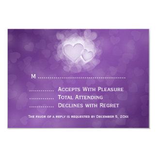 Elegant Wedding RSVP Modern Hearts Purple 9 Cm X 13 Cm Invitation Card