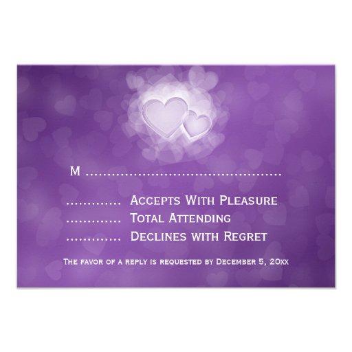 Elegant Wedding RSVP Modern Hearts Purple Custom Invitations