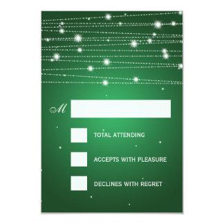 Elegant Wedding RSVP Sparkling Lines Emerald Green 9 Cm X 13 Cm Invitation Card