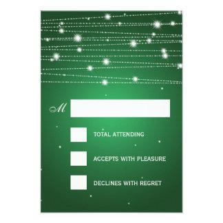 Elegant Wedding RSVP Sparkling Lines Emerald Green Personalized Invitation