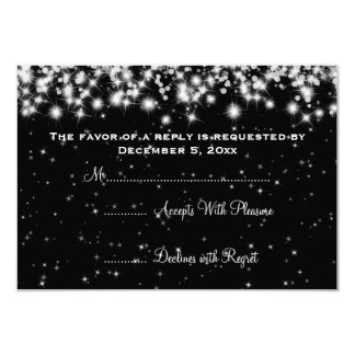 Elegant Wedding RSVP Winter Sparkle Black 9 Cm X 13 Cm Invitation Card