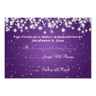 Elegant Wedding RSVP Winter Sparkle Purple 9 Cm X 13 Cm Invitation Card