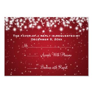 Elegant Wedding RSVP Winter Sparkle Red 9 Cm X 13 Cm Invitation Card