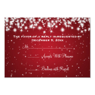 Elegant Wedding RSVP Winter Sparkle Red Card