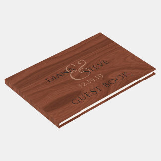 Elegant Wedding | Rustic Wood Grain Pattern Guest Book