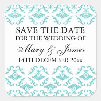 Elegant Wedding Save The Date Blue Damask Square Sticker