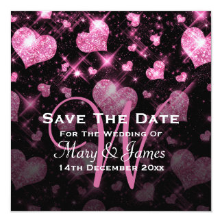 Elegant Wedding Save The Date Glitter Heart Pink 13 Cm X 13 Cm Square Invitation Card