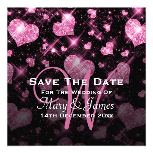 Elegant Wedding Save The Date Glitter Heart Pink Announcement