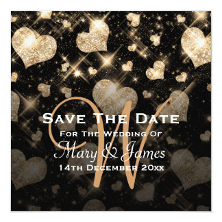 Elegant Wedding Save The Date Glitter Hearts Gold 13 Cm X 13 Cm Square Invitation Card