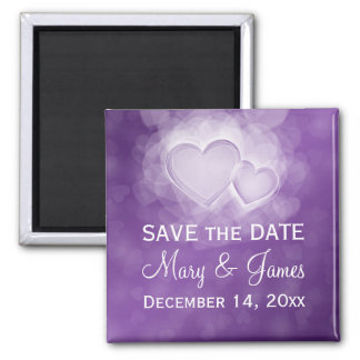 """Elegant Wedding """"Save The Date"""" Modern Hearts Purp Square Magnet"""