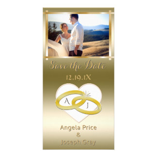 Elegant Wedding Save the Date Photo Gold Card