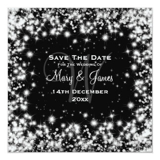 Elegant Wedding Save The Date Winter Sparkle Black Card