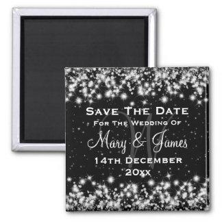 Elegant Wedding Save The Date Winter Sparkle Black Square Magnet