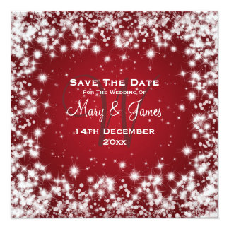 Elegant Wedding Save The Date Winter Sparkle Red 13 Cm X 13 Cm Square Invitation Card