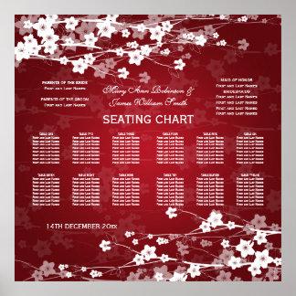 Elegant Wedding Seating Chart Cherry Blossom Red Poster