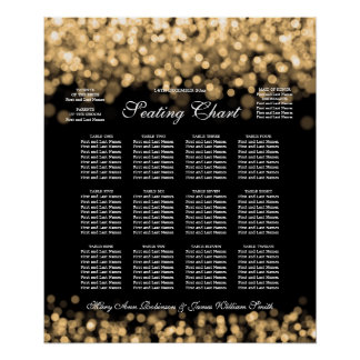 Elegant Wedding Seating Chart Gold Lights
