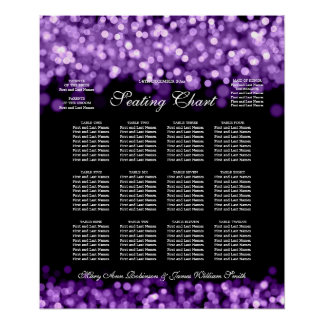 Elegant Wedding Seating Chart Purple Lights Poster