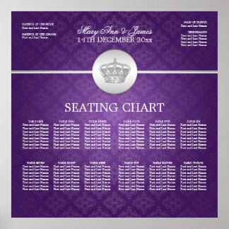 Elegant Wedding Seating Chart Royal Crown Purple