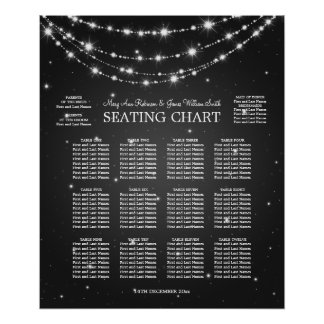 Elegant Wedding Seating Chart Sparkling Chain Blac