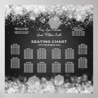 Elegant Wedding Seating Chart Sparkling Night Blac Posters