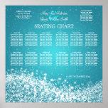 Elegant Wedding Seating Chart Sparkling Wave Blue